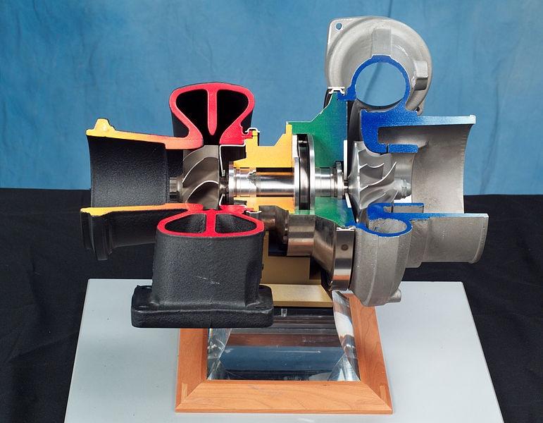 涡轮增压器的截面照片。