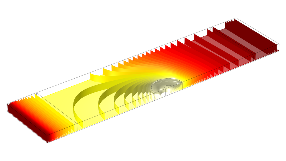 COMSOL Multiphysics? simulation results for the friction stir welding model. COMSOL Multiphysics 中摩擦搅拌焊接模型的仿真结果。
