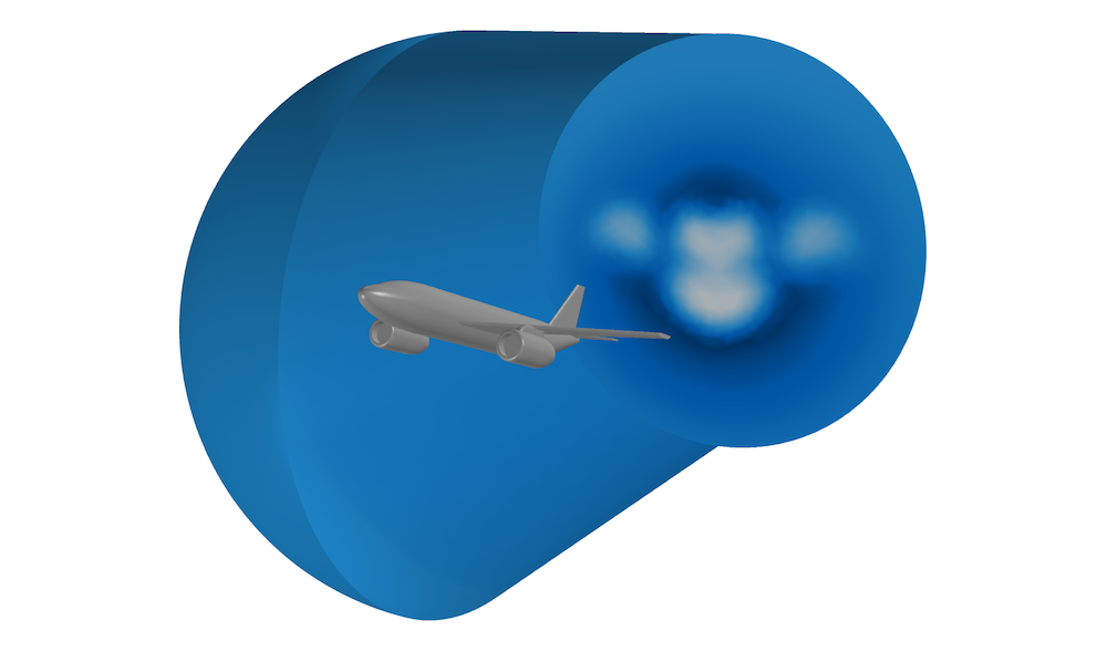 An image of the computational domain for a simulation of a stalling airplane. 用于失速飞机仿真的计算域图。