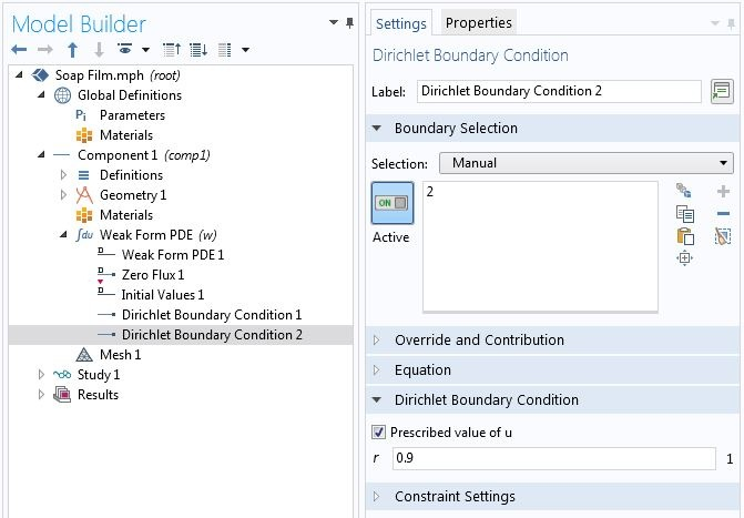 A screenshot of the Dirichlet Boundary Condition settings in COMSOL Multiphysics.