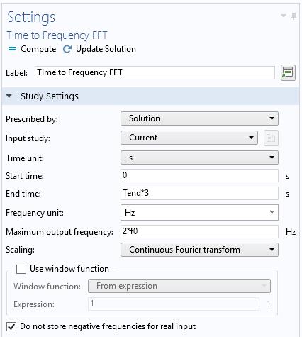 时频 FFT 研究的设置窗口的屏幕截图。