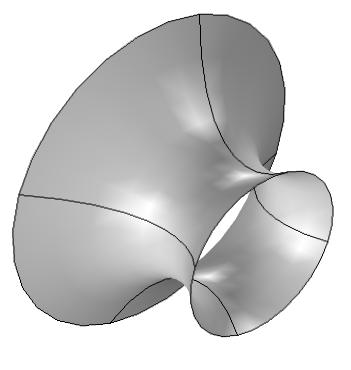 Model geometry for soap film between two rings.