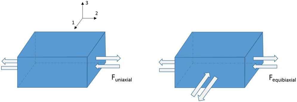 单轴和等双轴拉伸和压缩测试图示。