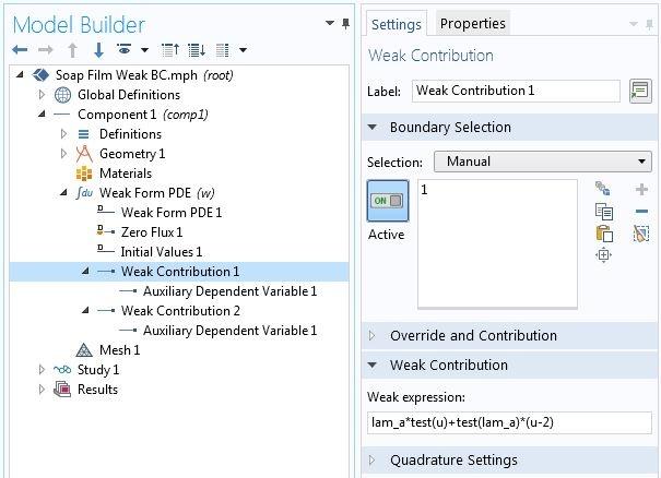 COMSOL软件中的弱贡献设置。