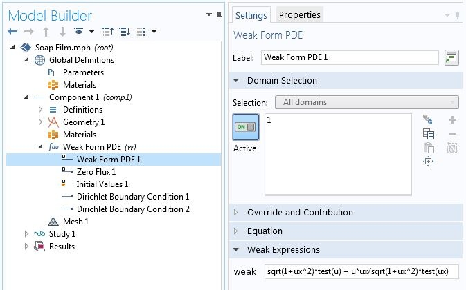 A screenshot of the Weak Form PDE settings in COMSOL Multiphysics.