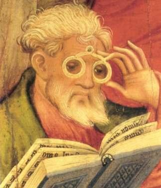 """由 Conrad von Soest 绘制的""""眼镜信徒""""画像。"""