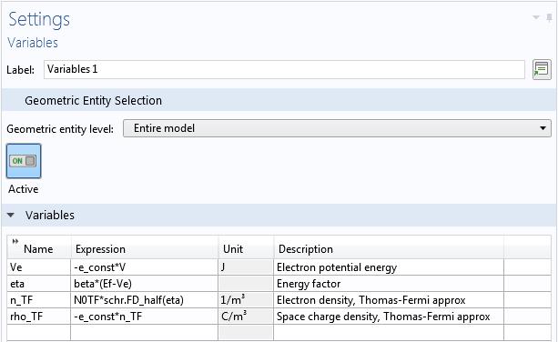 纳米线模型局部参数设置截图。
