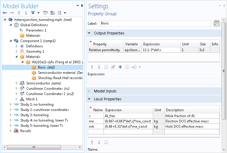 A screenshot of a Settings window used to define material properties.