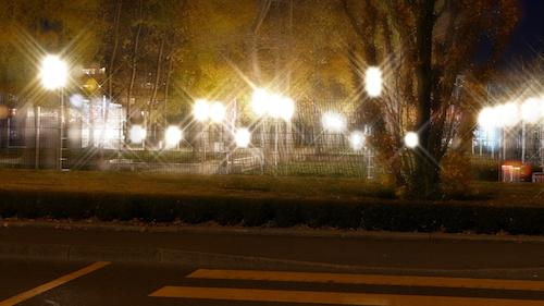显示老花眼患者在夜间看到的眩光的照片。