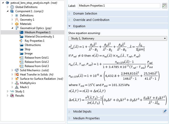 COMSOL GUI 的屏幕截图,其中包含用于 Sellmeier 光学色散模型的方程。