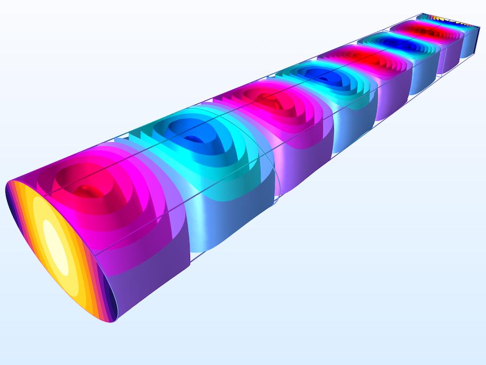 显示在COMSOL中建模的波导适配器中的波传播的图像。