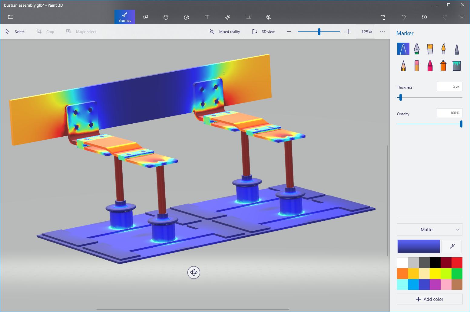 COMSOL Multiphysics 模型导出为 glTF 文件并导入到 Paint 3D 中。