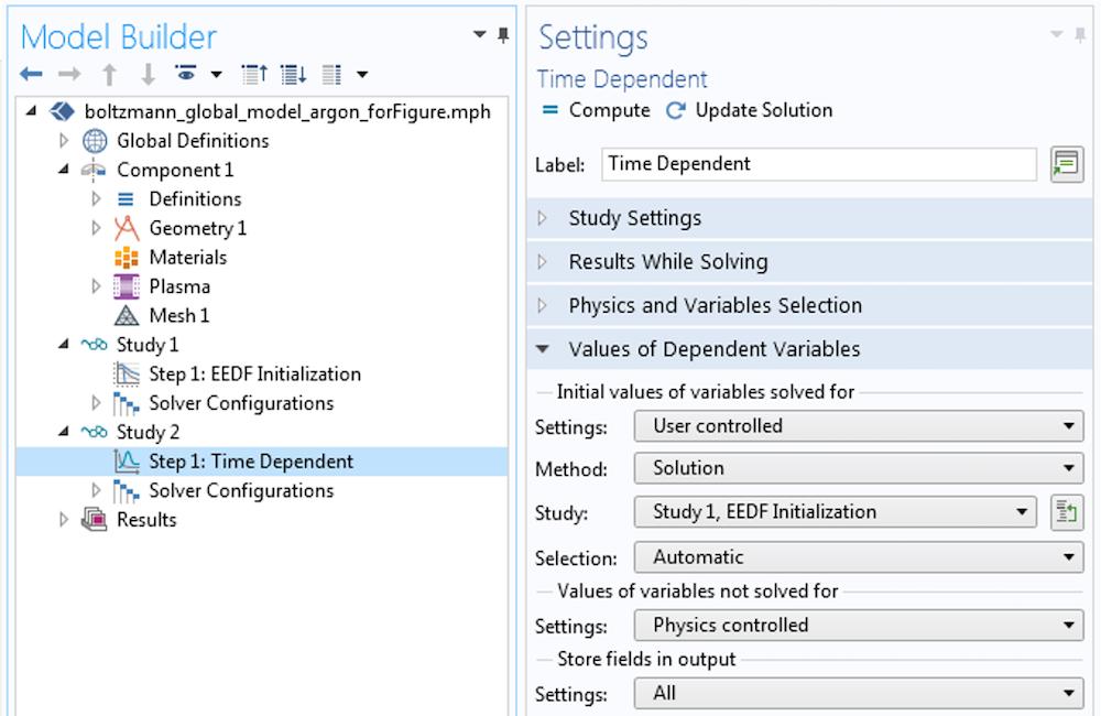 EEDF 研究的时间相关设置的屏幕截图。