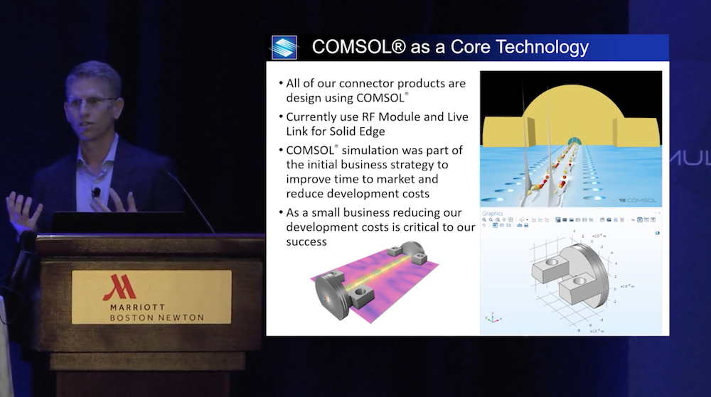 A photo of Eric Gebhard during his keynote talk at the COMSOL Conference.