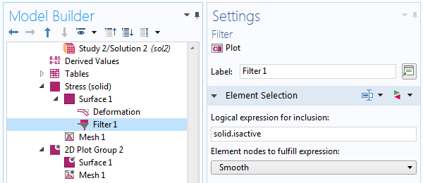 A screenshot of the Filter node Settings window.