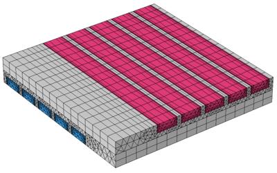 在固体域中使用一致对建立的共轭传热模型。