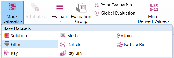 COMSOL中的过滤数据集和结果绘图