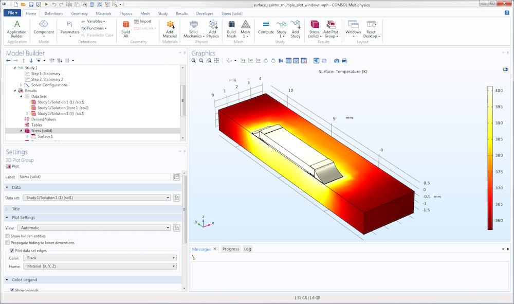 . 重置后 COMSOL Multiphysics® 用户界面布局的屏幕截图。