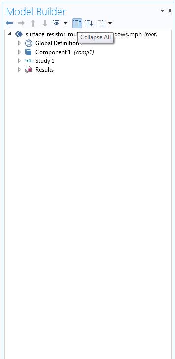 模型树完全折叠时的屏幕截图。