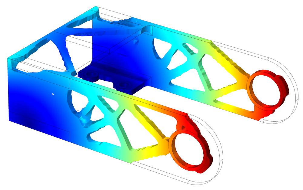 单一载荷工况下,支架的优化几何形状