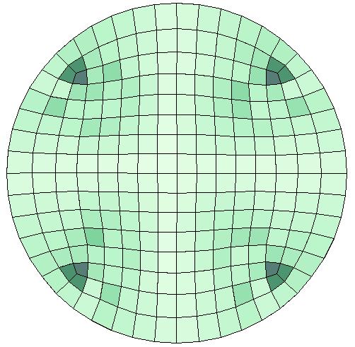 圆形几何中默认的网格