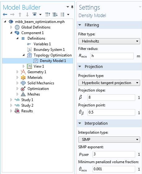 COMSOL 中的密度模型功能界面