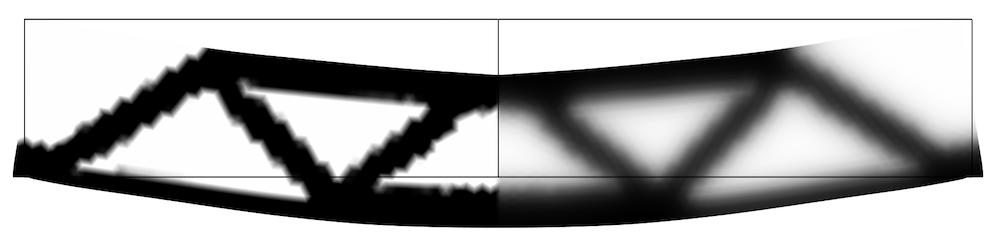 MBB 梁的原始控制变量和拓扑优化过滤后的控制变量