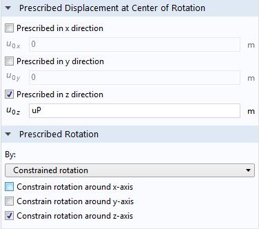 屏幕截图显示了活塞的规定运动和位移。