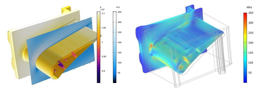 在 COMSOL Multiphysics® 中模拟的涡轮定子的 CFD 和传热仿真绘图。