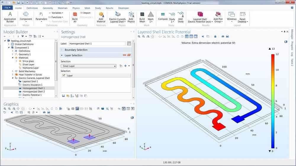 COMSOL Multiphysics®中加热电路模型的屏幕截图。
