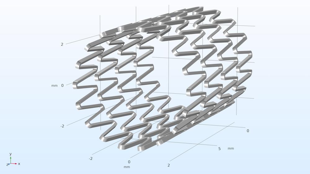自膨胀式支架的几何模型。