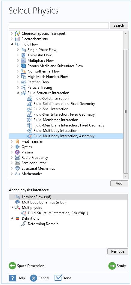 """屏幕截图显示了如何在""""模型向导""""中添加""""流体-多体交互作用,装配""""接口。"""