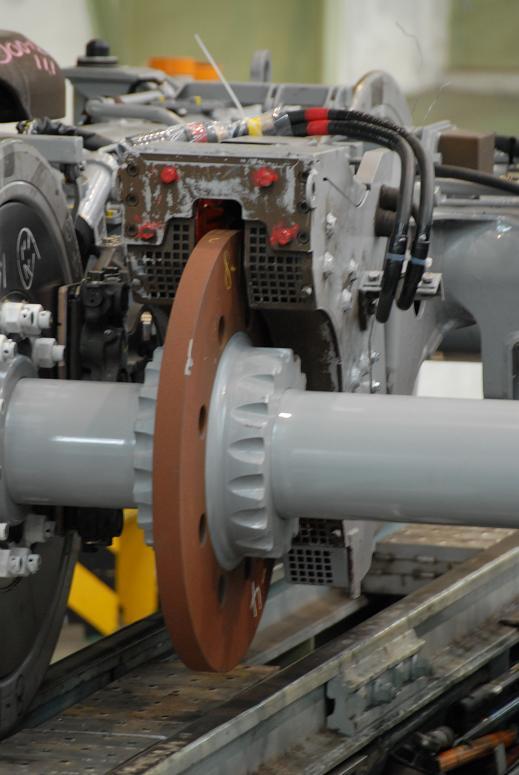 涡流制动盘的特写照片。