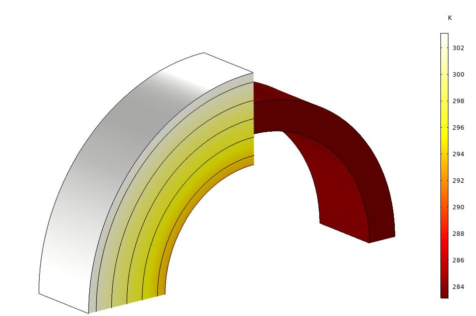两层材料重合处的温度场