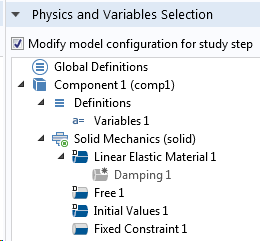 Screenshot of the study step settings for the eigenfrequency study.