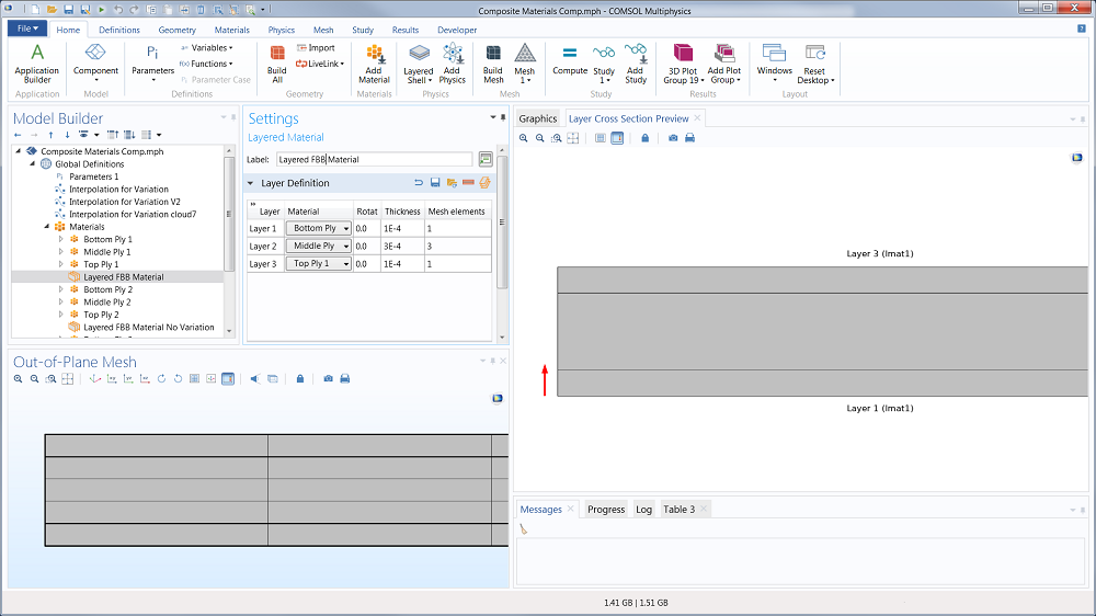 COMSOL Multiphysics® 中面外网格设置的屏幕截图。