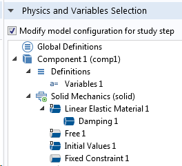 Screenshot of the study step settings for the subsequent mode superposition study.