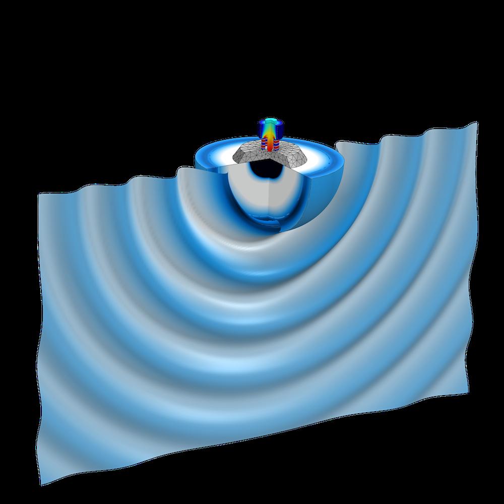 Tonpilz 换能器中的声辐射图