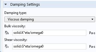 A screenshot showing the damping settings for viscous damping.