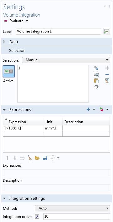 对布尔表达式进行积分的设置的屏幕截图。