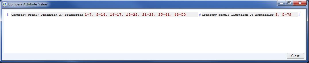 A Compare Attribute window used for comparing 2 model files.