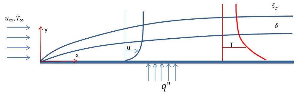 通过水平平板的层流示意图。