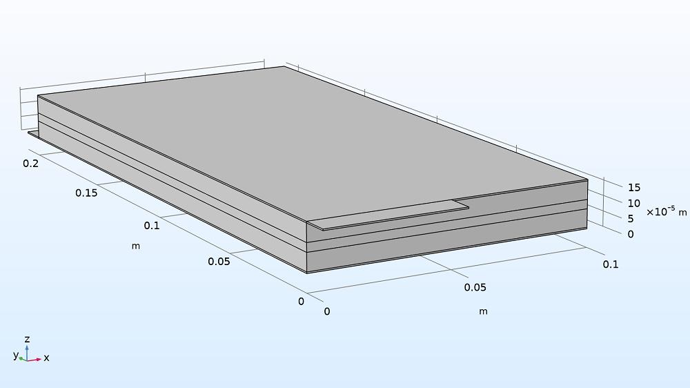 锂离子电池袋式电池模型的几何形状。