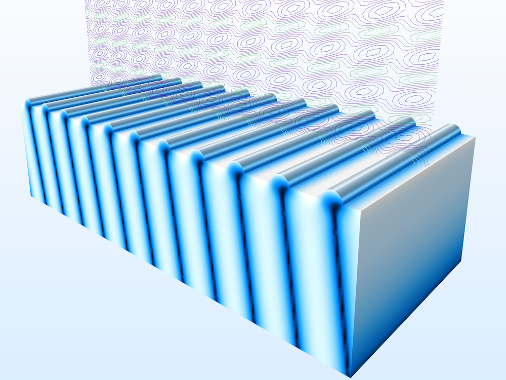 An image showing the field norm for a plasmonic wire grating model.