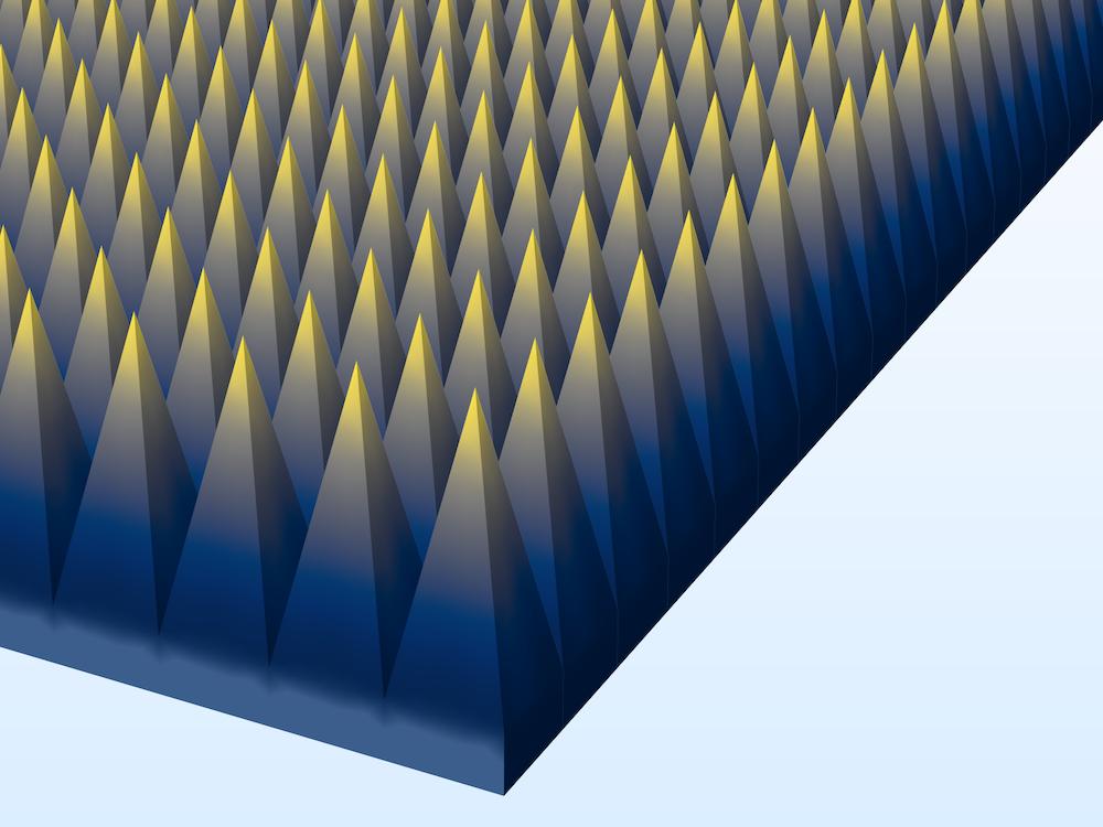 无限阵列金字塔形吸波器的图。