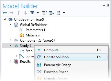 屏幕截图显示了在 COMSOL® 中更新模型解的选项。