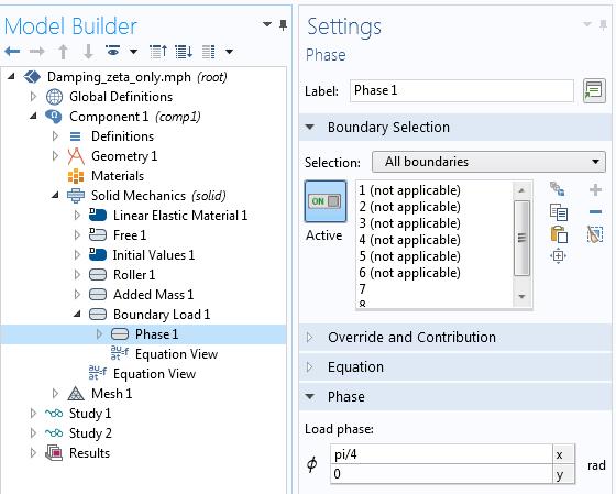 在COMSOL中向相关角添加相位角的屏幕截图Multiphysics®。