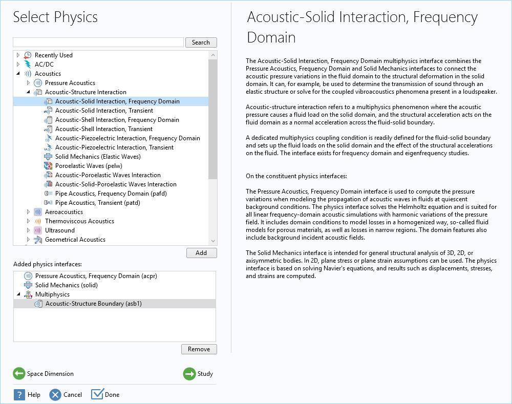 声 - 固相互作用,频域接口的预定义设置的屏幕截图。