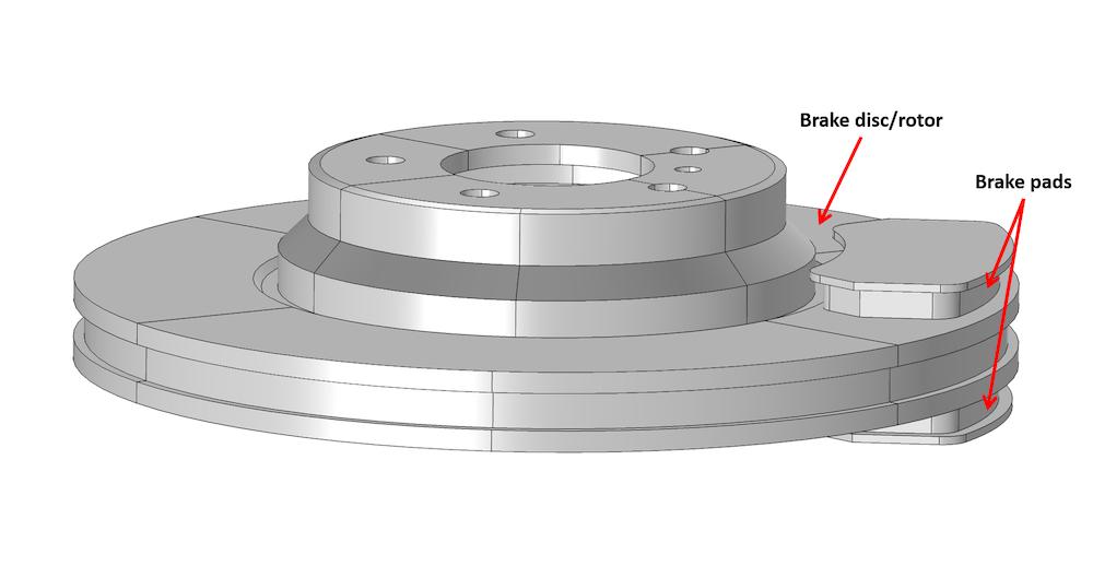 Veryst Engineering,COMSOL的认证顾问Multiphysics,创造了这种盘式制动器的模拟,包括制动盘/转子和刹车片。
