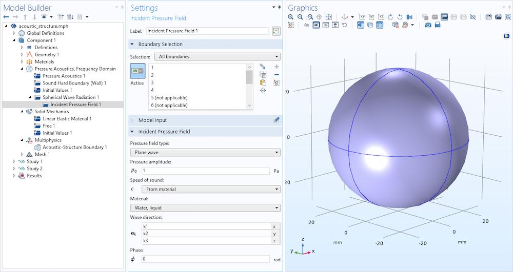 在 ASI 模型中指定事件平面波时模型构建器的屏幕截图。